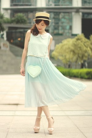 aquamarine heart-shaped Choies bag - light blue ianywear dress