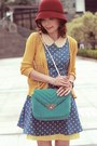 Maroon-cloche-hat-turquoise-blue-dress-teal-bag