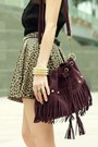 Camel-skirt-black-lace-up-boots-deep-purple-fringed-suede-bag