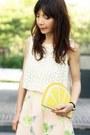 Yellow-lemon-monki-bag-white-zara-sunglasses-light-pink-choies-skirt
