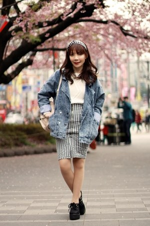 black Libby & Rose skirt - navy jacket - white cable knit H&M sweater