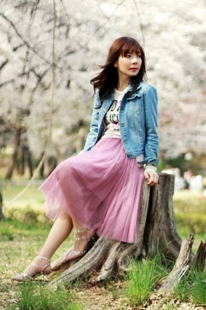 bubble gum midi tulle skirt - sky blue denim Sheinside jacket