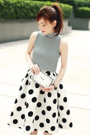 white Choies skirt - white clock face Choies bag - black Murua top