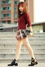 Black-choies-boots-ruby-red-cable-knit-h-m-sweater-black-studded-clutch-bag