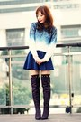 Deep-purple-boots-blue-dip-dye-choies-sweater-black-choies-socks
