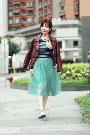 teal midi tulle Local store skirt - maroon faux leather Choies jacket