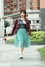 Maroon-faux-leather-choies-jacket-teal-midi-tulle-local-store-skirt