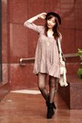 Black-suede-lace-up-boots-maroon-floral-print-french-connection-dress