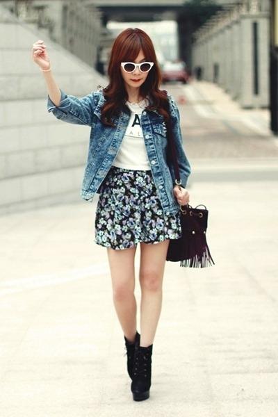 gold necklace - blue jacket - deep purple fringed bag - white Zara sunglasses