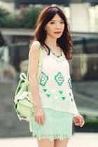 aquamarine H&M skirt - aquamarine backpack Choies bag