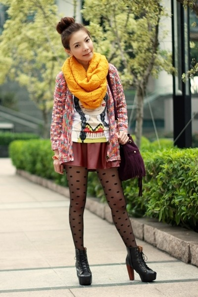 light orange knit infinity H&M scarf - magenta bag - maroon faux leather skirt