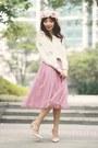 White-sweater-pink-diy-skirt-light-pink-flowers-crown-diy-hair-accessory