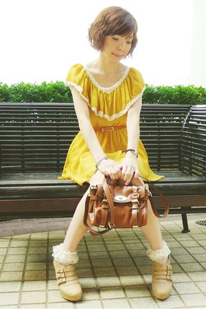 white polka dots socks - tan bows Liz Lisa boots - mustard dress