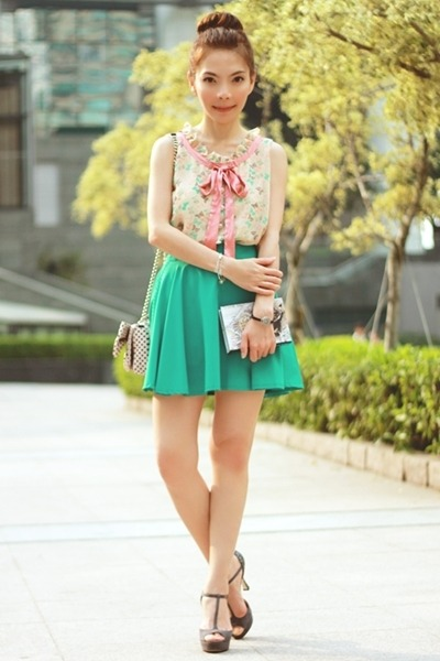 light pink RED valentino bag - turquoise blue Chicwish skirt