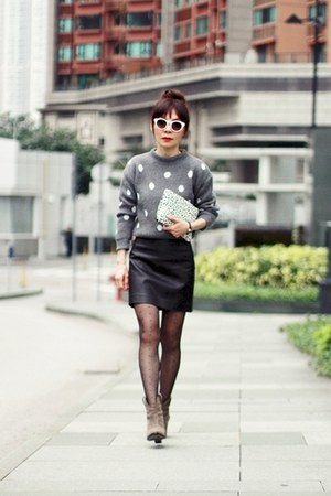 heather gray polka dots Local store sweater - dark khaki suede Zara boots