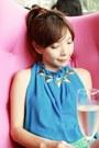 Blue-choies-top-choies-bag-turquoise-blue-crochet-shorts