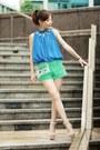 Choies-bag-turquoise-blue-crochet-shorts-white-retro-sunglasses