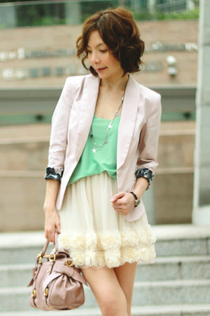 light pink H&amp;M blazer - light pink bow satchel Miu Miu bag - Primark socks
