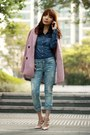 Pink-tweed-choies-coat-sky-blue-gap-jeans-blue-denim-shirt-h-m-shirt