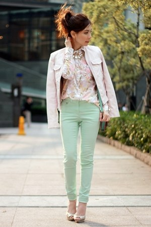 light pink faux leather Forever 21 jacket - light pink floral H&M shirt