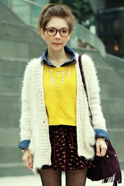 off white fuzzy knit cardigan - yellow knit H&M sweater - blue denim H&M shirt
