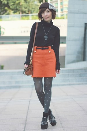 carrot orange gold buttons H&amp;M skirt - dark brown Lids hat