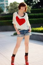 black top - red everest Jeffrey Campbell boots - ivory heart knit top sweater