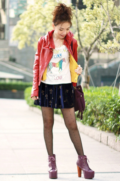 magenta litas Jeffrey Campbell boots - ruby red leather jacket