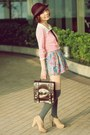Light-pink-cardigan-nude-bows-liz-lisa-boots-dark-brown-satchel-bag