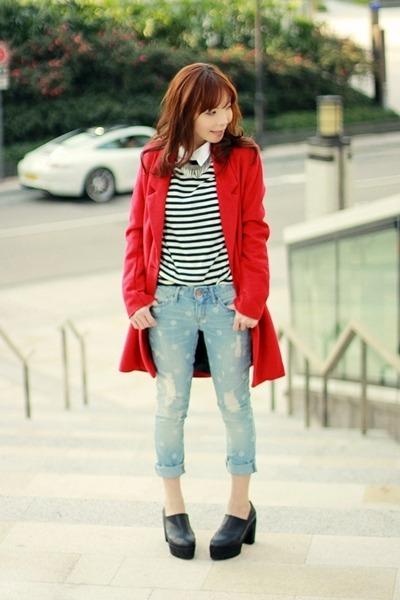 light blue Gap jeans - black platform Choies shoes - red Sheinside coat