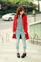 light blue Gap jeans - black platform Choies shoes - red Sheinside coat