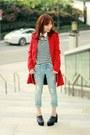 Black-platform-choies-shoes-red-sheinside-coat-light-blue-gap-jeans