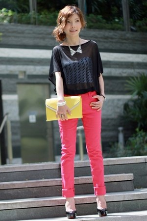 light yellow two-tone clutch bag - silver accessories - hot pink pants