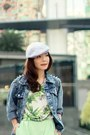 Heather-gray-pageboy-cap-local-store-hat-blue-local-store-jacket