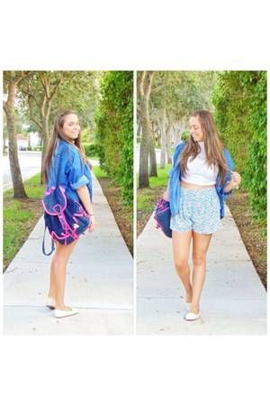 blue shirt - blue bag - light blue Forever 21 shorts - white top