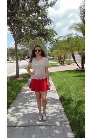 red Forever 21 skirt - off white Forever 21 blouse - silver Steve Madden flats