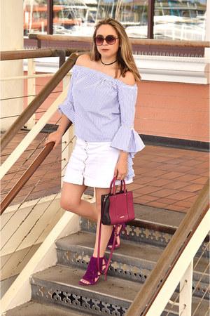 magenta satchel Rebecca Minkoff bag - white patched denim H&M jeans
