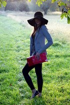 hot pink bag - black H&M hat - periwinkle jacket - heather gray sweater