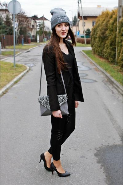 black Bershka sweater - black granashop leggings - black Bershka blazer