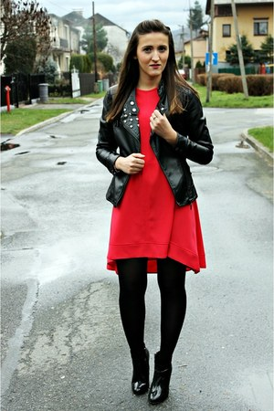 red Blue shadow dress - black leather Top Secret boots