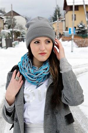 silver Top Secret skirt - black Top Secret boots - heather gray second hand coat