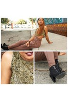 bronze GoJane pants - black suede boots boots - light yellow shirt