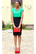 ruby red quilted bag - green Sheinside blouse - ruby red pumps - black skirt