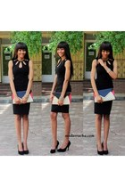 black asos dress - new look bag - black pumps - bracelet