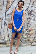 Asymmetric blue dress