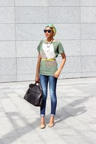 jeans - scarf - bag - Calliope sunglasses - Peacocks flats - green jumper