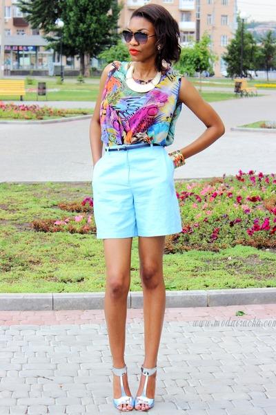 asos heels - light blue blouse