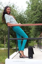 black bag - black Zara sandals - prints top - green pants