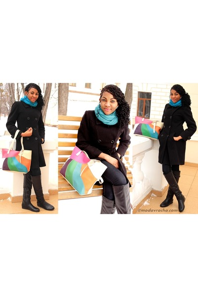 black boots - black coat - blue scarf - multicolored bag