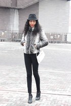 heather gray faux fur coat - black heeled brogue shoes - black pencil jeans